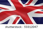 united kingdom flag in the wind.... | Shutterstock . vector #53312047