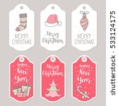 christmas and new year greeting ... | Shutterstock .eps vector #533124175