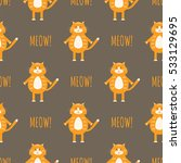 cute cats vector seamless... | Shutterstock .eps vector #533129695