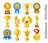 cartoon gold reward icon set... | Shutterstock .eps vector #533142961