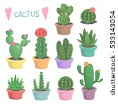 cute vector cactuses in pots... | Shutterstock .eps vector #533143054