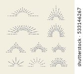 set of vintage sunbursts in... | Shutterstock .eps vector #533146267