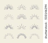 set of vintage sunbursts in... | Shutterstock .eps vector #533146294