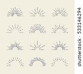 set of vintage sunbursts in... | Shutterstock .eps vector #533146294