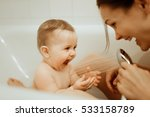 mother washing shower happy... | Shutterstock . vector #533158789