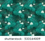turquoise tropical leaves and... | Shutterstock .eps vector #533164009