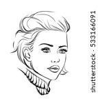 fashion portrait lineart... | Shutterstock .eps vector #533166091