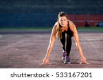 runner young woman in start...   Shutterstock . vector #533167201