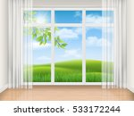 empty room with big window and... | Shutterstock .eps vector #533172244