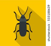 Gray Bug Icon. Flat...