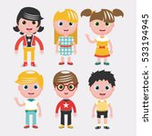 set of kids on background... | Shutterstock .eps vector #533194945
