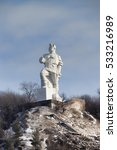 Small photo of SVYATOHIRSK, UKRAINE - JANUARY 1, 2013: Monument to Artem in Svyatohirsk, sculptor Kavaleridze. Perhaps soon fall under the de-communization and will be demolished.