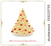 christmas tree decorated in... | Shutterstock .eps vector #533225755