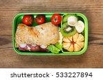 lunchbox on wooden table. ham... | Shutterstock . vector #533227894