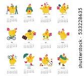 new year and christmas calendar ... | Shutterstock .eps vector #533228635
