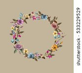 vintage wreath of flowers on a... | Shutterstock .eps vector #533229529