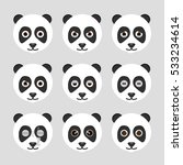 set of cute panda emoticons.... | Shutterstock .eps vector #533234614