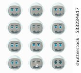 set of cute astronaut emoticons.... | Shutterstock .eps vector #533234617