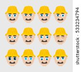 set of cute builder emoticons.... | Shutterstock .eps vector #533234794