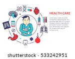 medicine concept in flat line... | Shutterstock .eps vector #533242951