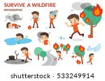 survive a wildfire. forest fire.... | Shutterstock .eps vector #533249914