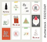 collection of 12 christmas card ... | Shutterstock .eps vector #533251069