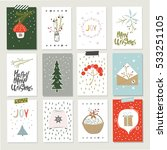 collection of 12 christmas card ... | Shutterstock .eps vector #533251105