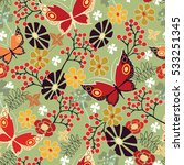 seamless spring floral pattern...   Shutterstock .eps vector #533251345