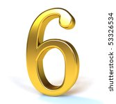 the number 6   gold | Shutterstock . vector #53326534