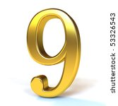 the number 9   gold | Shutterstock . vector #53326543