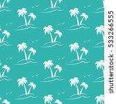 Palm Trees. White Silhouette O...