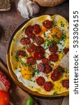 omelette with chorizo and herbs ... | Shutterstock . vector #533306155