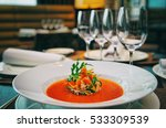 soup on table in expensive... | Shutterstock . vector #533309539