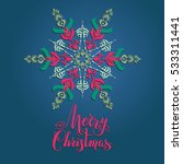 boho snowflakes card   Shutterstock .eps vector #533311441
