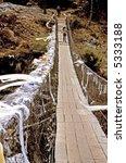 Everest Trek Suspension Bridge - stock photo