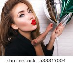 close up cheerful young lady in ... | Shutterstock . vector #533319004