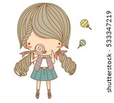 little girl eat candy | Shutterstock .eps vector #533347219