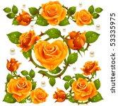 Orange Rose Design Elements