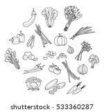 healthy vegetable doodle | Shutterstock .eps vector #533360287