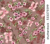 flowers peach with ribbon... | Shutterstock . vector #533375599