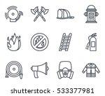 firefighter icon line | Shutterstock .eps vector #533377981