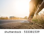girl remove casual shoes near...   Shutterstock . vector #533381539
