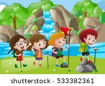 four kids hiking along the... | Shutterstock .eps vector #533382361