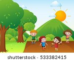 four kids exercise in the park... | Shutterstock .eps vector #533382415