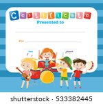 certificate template with kids... | Shutterstock .eps vector #533382445