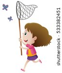 girl catching butterflies with... | Shutterstock .eps vector #533382451