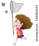 girl catching butterflies with... | Shutterstock .eps vector #533382451