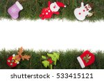 christmas frame made of fir... | Shutterstock . vector #533415121