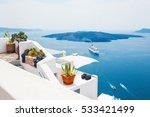 white architecture on santorini ... | Shutterstock . vector #533421499