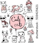 vector illustration of cat set... | Shutterstock .eps vector #533425621